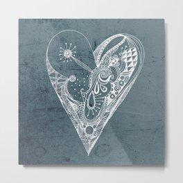 Ornament zentangled heart Metal Print