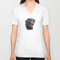 labrador V-neck T-shirts featuring Labrador retriever - black by Doggyshop