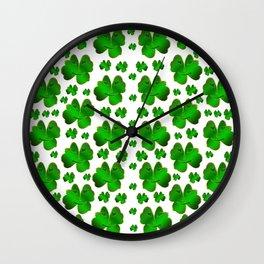funny, laughing, shamrocks, green, st patricks day, shiny, gold, face, smile, shamrock Art Print Wall Clock