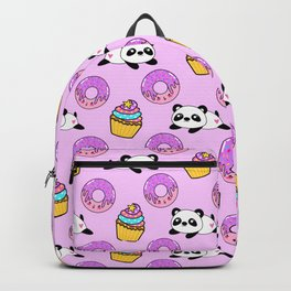 Cute funny Kawaii chibi little playful baby panda bears, happy sweet donuts and adorable yummy cupcakes light pastel pink pattern design. Nursery decor. Backpack