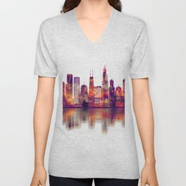 Chicago Illinois Skyline Unisex V-Neck