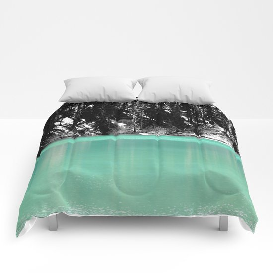 Green Water, Black and White Comforters