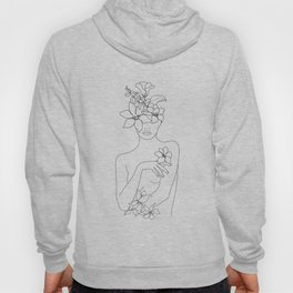 Minimal Line Art Woman with Flowers IV Hoodie