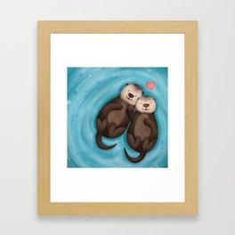 Otters in Love Framed Art Print