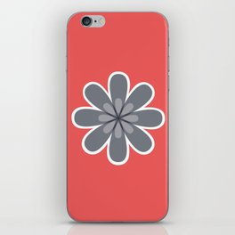 Symmetrical floral pattern, grey and coral red geometric flower iPhone Skin
