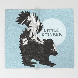 Little Stinker -blue- Throw Blanket