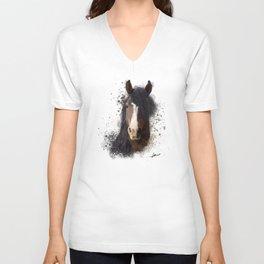 Black Brown Horse Artwork Unisex V-Neck