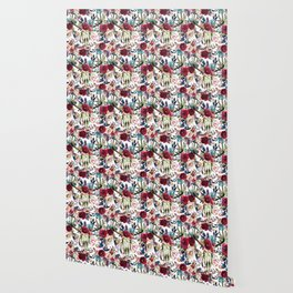Hand painted boho red white teal watercolor skull floral Wallpaper