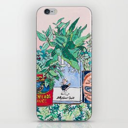 Jungle Botanical in Colorful Cans on Pink - Still Life iPhone Skin