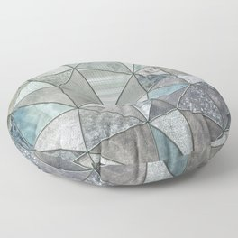 Teal And Grey Triangles Stained Glass Style Floor Pillow