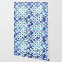 Beautiful oriental flower pattern 7 blue, green Wallpaper