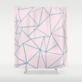 Ab Dotted Lines Blue on Pink Shower Curtain