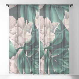 Blooming pink large flowers Sheer Curtain