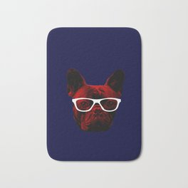 hipster french bulldog Bath Mat