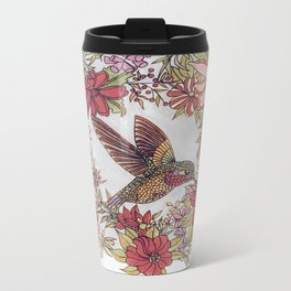 Hummingbird In Flowery Garden Wreath Metal Travel Mug