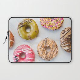 Colorful Donuts on Marble Laptop Sleeve