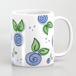 Swirly Blue Rose Pattern Coffee Mug