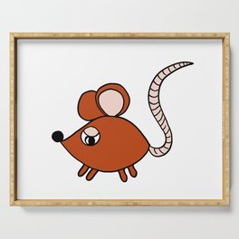 Drawn by hand a Friendly little mouse for children and adults Serving Tray