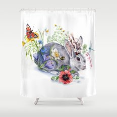 Spring Jackalope Shower Curtain