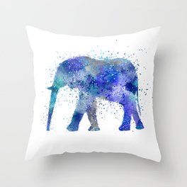 Blue Watercolor Elephant Throw Pillow