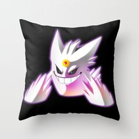 gengar Throw Pillows featuring Mega-Gengar by R-no71