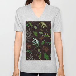 Simple and stylized flowers 16 Unisex V-Neck