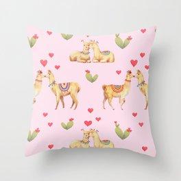 Llamas in llove pattern Throw Pillow
