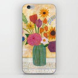 blue jar of flowers iPhone Skin