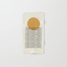 Ocean wave gold sunrise - mid century style Hand & Bath Towel