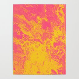Pink and Yellow Marble - An Abstract Piece Poster