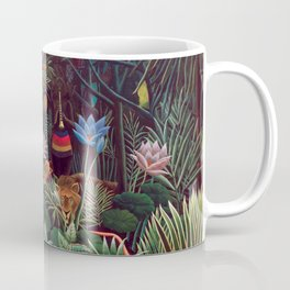 The Dream by Henri Rousseau 1910 // Jungle Lion Flowers Native Female Laying Colorful Landscape Coffee Mug