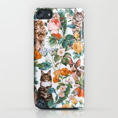 Cat and Floral Pattern III iPod touch Slim Case