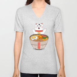 Liter of Ramen. Japanese soup and Manekineko cat. Unisex V-Neck
