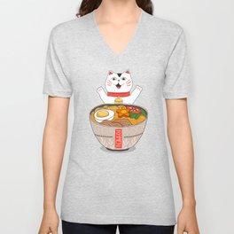 Liter of Ramen. Japanese soup and Manekineko cat. Unisex V-Neck