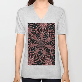 Intricate Black Red and White Kaleidoscope Unisex V-Neck