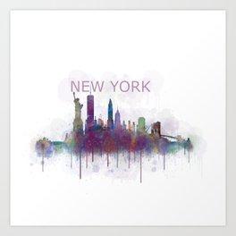 NY New York City Skyline v5 Art Print