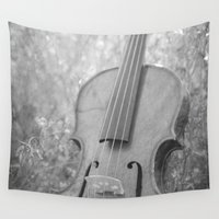 violin Wall Tapestries featuring Violin Nature by KimberosePhotography