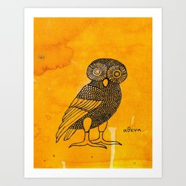 ATHENA'S OWL IN TEA & COFFEE BACKGROUND  Art Print