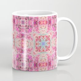 Pink Peach and Blue Pretty Gothic Stained Glass Tile Coffee Mug