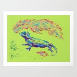 Fire-Breathing Lizard Friend Art Print