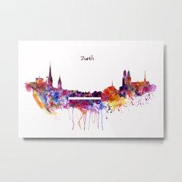 Zurich Skyline Metal Print