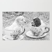 puppies Area & Throw Rugs featuring Teacup Puppies. by ShabbyChic fine art photography
