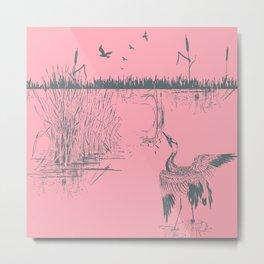 Oriental Exotic Heron & Birds on a Lake Print - Pink Metal Print