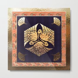 Japanese Swan Traditional Motif Metal Print