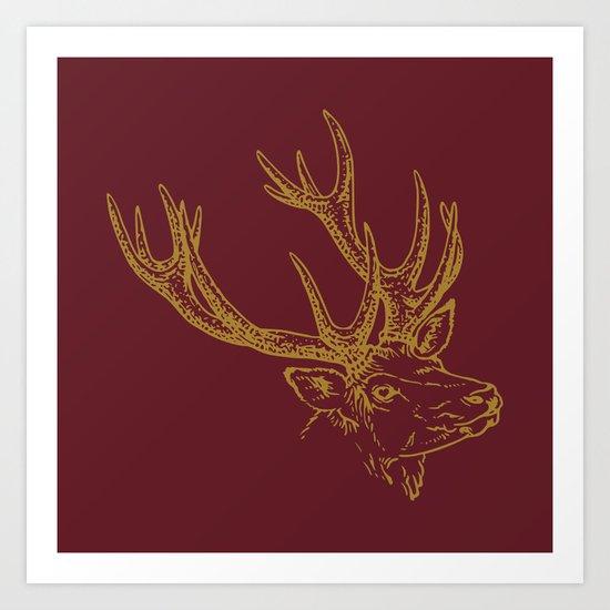 Deer Burgundy Gold Art Print