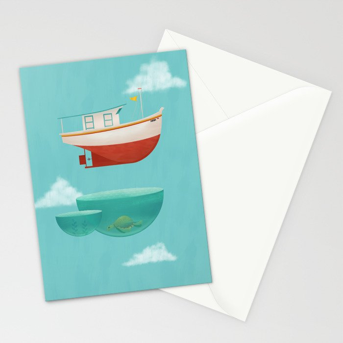 Floating Boat Stationery Cards