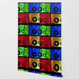 Transparent Cassette tapes. Pop art style Wallpaper