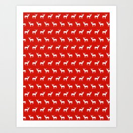 Christmas deer reindeer red and white minimal modern silhouette holiday pattern print design Art Print