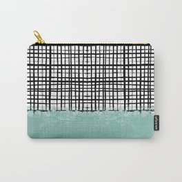 Mila - Grid and mint -  paint, art, artist cell phone case, grid phone case Carry-All Pouch