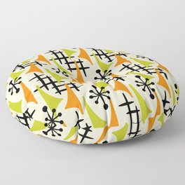 Mid Century Modern Atomic Wing Composition Orange and Chartreuse Floor Pillow